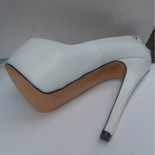 Sandals Pumps Sweet Pu Black 34 45 5 16 14 White Pumps Toe 5 Zipper White Cm Fashion VIVIOO Stiletto Size Pointed Prom E457ww