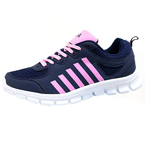 Ladies Running Trainers Air Tech Shock Absorbing Fitness Gym Sports Shoes Size 4 - 8 S2 Navy - Pink
