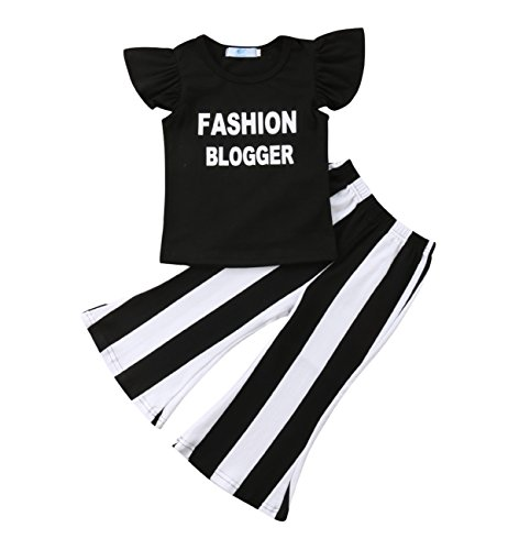 Kids Toddler Baby Girl Ruffle Sleeve Fashion Blogger T-Shirt Tops+Stripe Flare Pants Clothes (2-3 Years) Black -