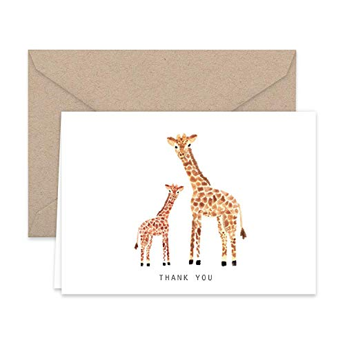 - Paper Frenzy Giraffe Thank You Note Cards and Kraft Envelopes 25 pack