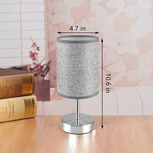 Touch Control Table Lamp,HUGCHG Dimmable Touch Control Bedside Lamp Nightstand Lamp with Grey Fabric Shade Bedroom Lamp for Bedroom,Living Room, Reading Room, Office,4W Dimmable Bulb Included