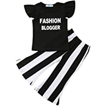 Qiylii Kids Toddler Baby Girl Ruffle Sleeve Fashion Blogger T-Shirt Tops+Stripe Flare Pants Clothes