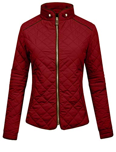 J.LOVNY Womens Lightweight Quilted Warm Zip Jacket [S-3XL] Burgundy (Quilted Womens Jeans)