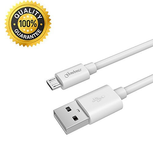 Gembonics 6.5ft Premium Micro USB to USB Cable High Speed USB 2.0 A Male to Micro B for Android, Samsung, HTC, Nokia, Portable Charger, Power Bank, Smartphones, Tablets and other Micro USB Charged Devices (White)