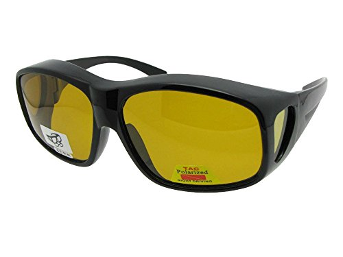 Largest Polarized Fit Over Sunglasses Worn Over Prescription Glasses Style F19 (Black-Dark Yellow Lens, 2 - Sunglasses Prescription Dark Extra