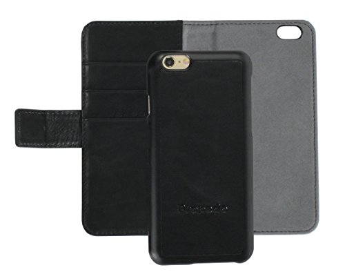 iPhone 6 Case, Propado Genuine Leather Wallet Case with 2-in-1 Magnetic Detachable Folio Cover for iPhone 6 & iPhone 6s,Credit Card Holder & Money Pocket, Magnetic Closure (Black)