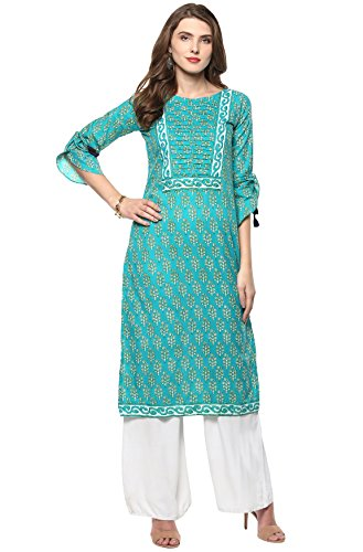 Janasya Indian Tunic Tops Cotton Kurti for Women (JNE2153-KR-278-L) Turquoise