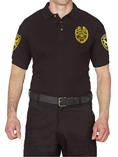 First Class 100% Cotton Security Polo Shirts Black (Large, Short Sleeve Gold)