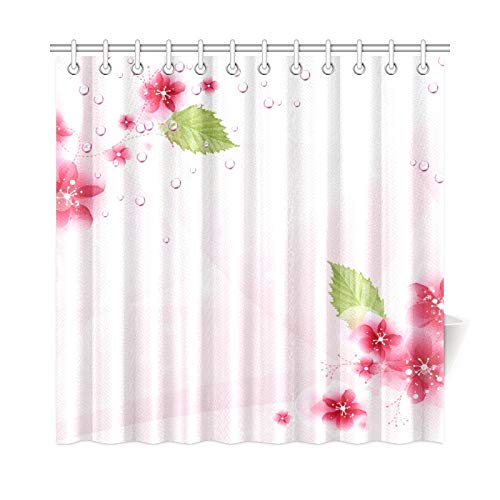 (Jnseff Home Decor Bath Curtain Template Wallpaper Flower by Ecathe Dvjh Polyester Fabric Waterproof Shower Curtain for Bathroom, 72 X 72 Inch Shower Curtains Hooks Included)