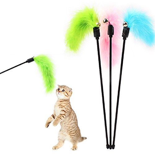 Feather Wand Cat Toy (ZUINIUBI 4pcs Pet Cat Turkey Feather Teaser Cat Toy Teaser With Bell Color Random)