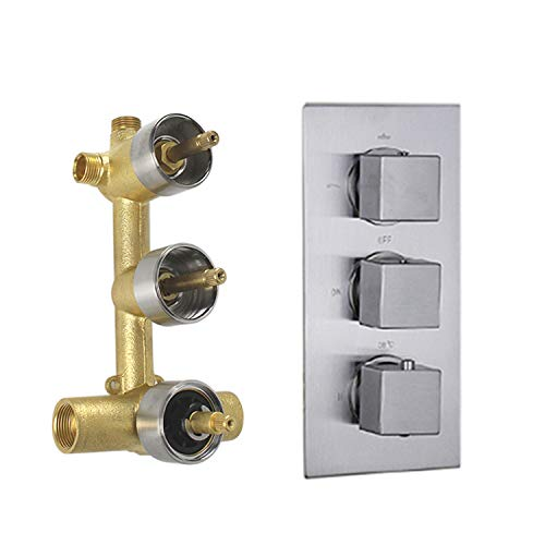 HOMEDEC Concealed 3-Way Thermostatic Valve Shower Mixer with Square Knobs, Brushed Nickel