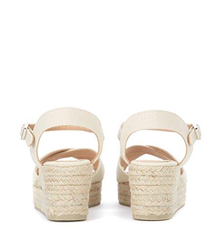 Fabric Beige White Womens Light Sandal Womens Wedge Blaudell Blaudell Castañer Castañer qYRvq0O