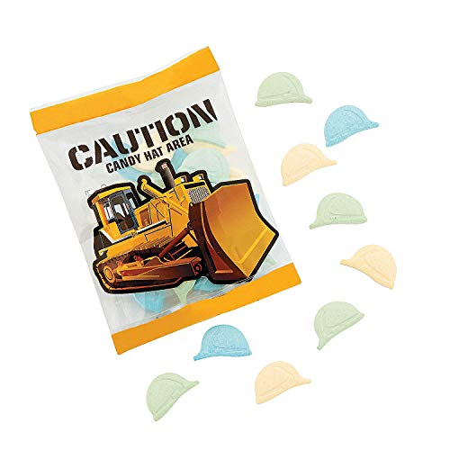 Fun Express - Hard Hats Candy Fun Packs for Birthday - Edibles - Hard Candy - Dextrose - Birthday - 18 Pieces ()