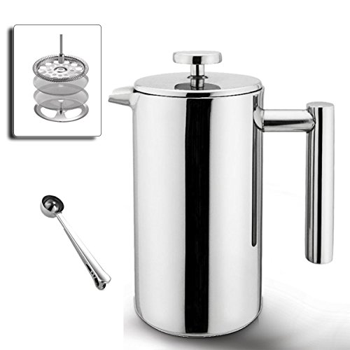 Double Wall Stainless Steel French Press Coffee Maker - 8-Cup - Stainless Steel Dual Screen - Bonus Coffee Scoop - Gift Box