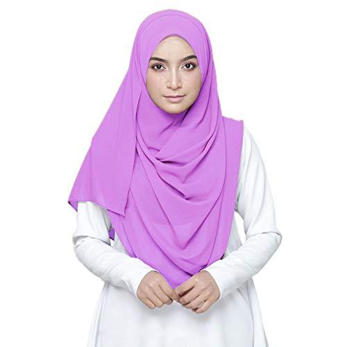 LMVERNA Womens Chiffon Scarf Solid Color Shawl and Wraps Lightweight Scarf Designer Scarf(Lavender) ()