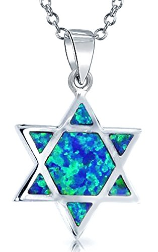 Blue Synthetic Star (Synthetic Blue Opal Inlay Star of David Pendant Sterling Silver Necklace 18 Inches)
