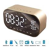 WONFAST Bedside Digital Alarm Clock Bluetooth Speaker, Portable Dual Metal Speaker FM Radio Large LED Display for Time/Date/Temperature,Support FM Radio,Built-in Mic (Gold)