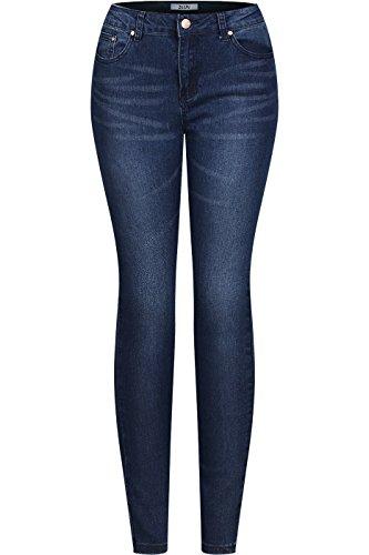 2LUV Women's Stretchy 5 Pocket Medium Denim Skinny Jeans Dark Denim ()