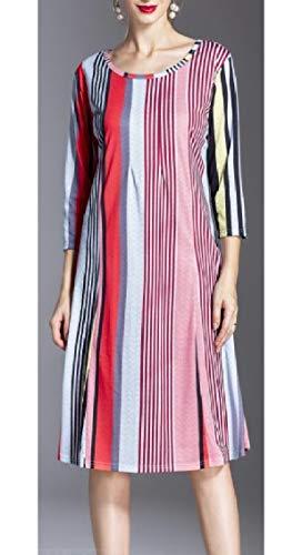 Jaycargogo Manches Longues Casual Femmes Encolure Dégagée Robe Midi D'impression Numérique 6