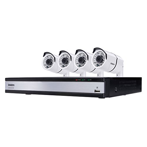 (Uniden UDVR45x4 720p HD DVR Video Security System 4 Channel x 4 Camera 1TB HDD, Night Vision - White)