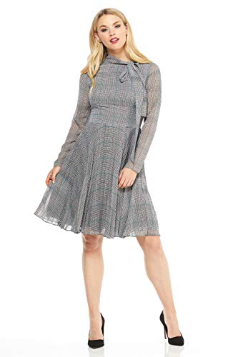 - Maggy London Women's Plaid Chiffon fit and Flare, White/Grey/Teal, 12