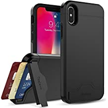 iPhone X Case, Teelevo Dual Layer Wallet Case with Card Slot Holder and Kickstand [Drop Protection] for Apple iPhone X (2017) - Black