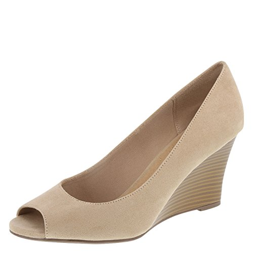 Tan Peep Toe (dexflex Comfort Women's Tan Suede Kylee Peep-Toe Wedge 6.5 Regular)