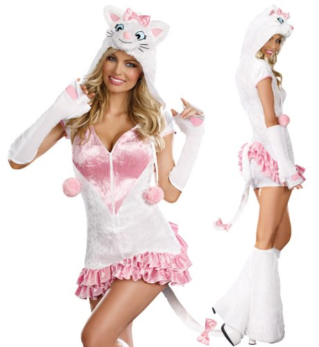 Holloween Costumes Woman (Dreamgirl Women's Pretty Kitty Costume White Large)