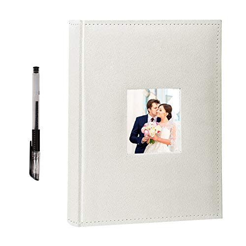 - FaCraft Wedding Photo Album 300 4x6 Horizontally with Memo Area and Leather Cover (Ivory,13x9 Inch)