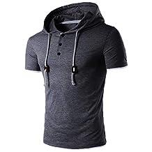Ankola Men's Workout Hooded Tank Tops Bodybuilding Muscle T Shirt Short Sleeve Button Gym Hoodies