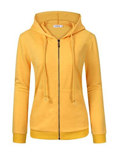 - GloryStar Women's Hoodie Dress Pullover Hoody Dress Casual Fitted Knee Length Sweatshirt with Pocket (2XL, Yellow-Zip Hoodie)
