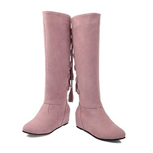 VogueZone009 Damen Rund Zehe Ziehen auf Mattglasbirne Rein Mittler Absatz Stiefel Pink