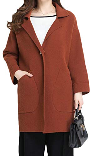 Joe Wenko Women Solid Lapel Business Warm Winter Plus Size Stretch Pea Coats Coffee One Size by Joe Wenko
