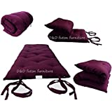 Brand New Burgundy Traditional Japanese Floor Futon Mattresses 3thick X 30wide X 80long, Foldable Cushion Mats, Yoga, Meditaion.
