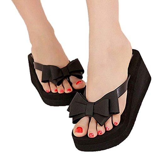 Women Bowknot Thong High Heel Beach Sandals Shoes US 8