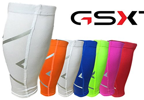 GSXT Calf Compression Sleeves for Men & Women - Leg and Shin Compression Sleeves for Runners, Cyclist - Shin Splint, Blood Circulation and Recovery Aid (1 Pair) (X-Large, White) by GSXT