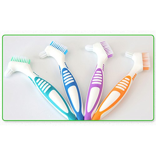 Yiwa Portable Ergonomic Denture Cleaning Brush Multi-Layered Bristles False Teeth Brush Oral Care Tool
