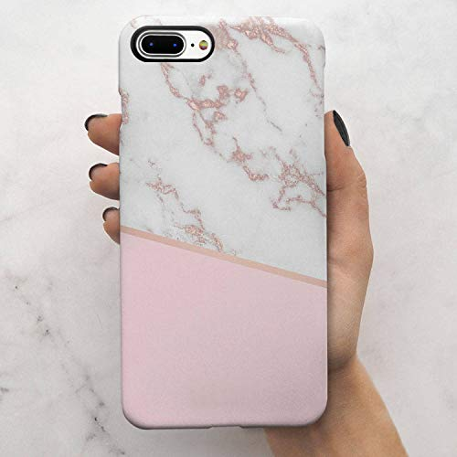 KINFUTON Compatible iPhone 7 Plus Case,iPhone 8 Plus Case,Pink White Marble for Women Girls Soft Silicon Rubber Clear Bumper Matte TPU Slim Cute Protective Phone Case for iPhone 7 Plus iPhone 8 Plus