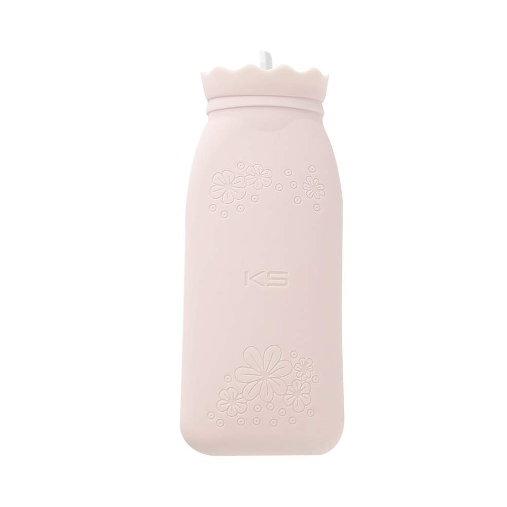 RUKAZA Heating Bottle Environmental Silicone Hot Water Bag with Knit Cover-Great for Pain Relief, Hot & Cold Therapy-Gift for Girls Babys, Christmas, Gift Exchange Pary (Pink, Long)