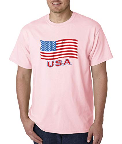 - Trendy USA 719 - Unisex T-Shirt USA Flag Distressed Old Glory United States 4XL Light Pink
