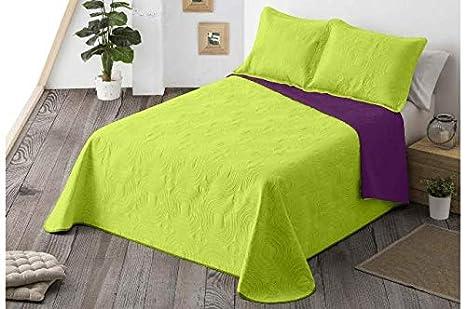 Energy Colors Textil-Hogar - Chill - Colcha Boutí Verano Reversible Liso Bicolor con 2 Funda Cojín 50 x 70 cm (Verde, 235 x 265 cm (Cama 135))