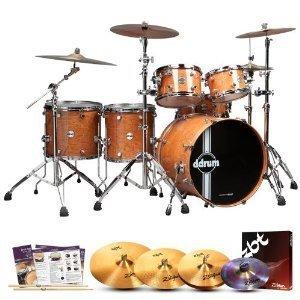 ddrum REFLEX-UPTOWN-22-6-PC Reflex Uptown Natural Alder Gloss 6-Pc Shell Pack w/ Cymbals, Survival Guide Drumsticks - Zbt 3 Cymbal Pack