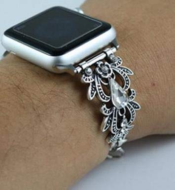 HeroStore Jewelry Diamond Wrist Watch with Chain Strap for Apple Watch Band Women's Strap for iWatch Seies 1/2/3 42mm 38mm Smart Watch -