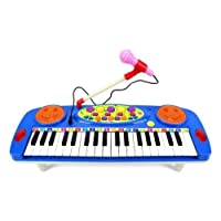 Kids Electronic Organ Musical Instrument Keyboard Piano Kids Toy + Microphone by GN Enterprises (Blue)