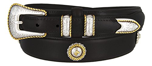 [Mens Gold Horse Head Concho And Genuine Leather Ranger Belt (Black,50)] (Gold Concho Belt)
