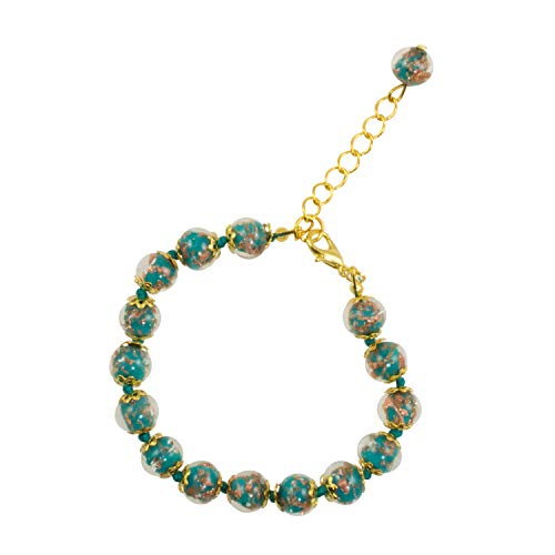Just Give Me Jewels Genuine Venice Murano Sommerso Aventurina Glass Bead Strand Bracelet in Teal 8+1