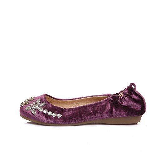 Frosted Purple Round Closed Flats Solid Womens Pull Shoes No Toe Heel on AmoonyFashion qC5An6f