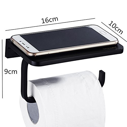 WOLIBEER Light Toilet Paper Holder of Space Aluminium Construction Mobile Phone Holder for Bathroom Kitchen WC Black American Style Roll Tissue Holder with Shelf