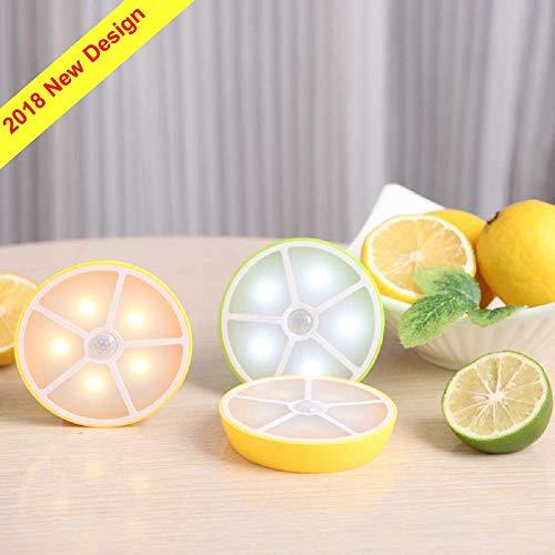 Light Night Slice - 2019 Lemon Slice LED Motion Sensor Light, Activated Closet Nightlight, Stick-Anywhere Wall Light, Magnet Stair Lights, USB Rechargeable Safe Lights for Hallway, Bathroom, Bedroom, 1 Pack (Yellow)