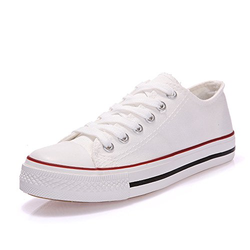 Magone Womens High Top Classic Canvas Fashion Sneaker Low Whitered